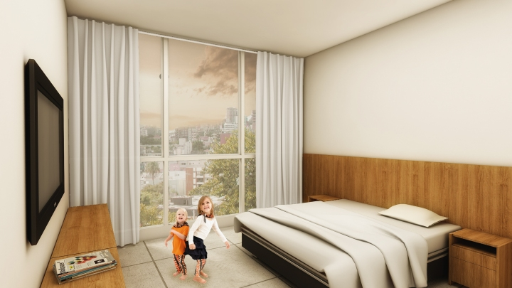 Vista de um dos quartos do hotel - com duas crianças azucriando!