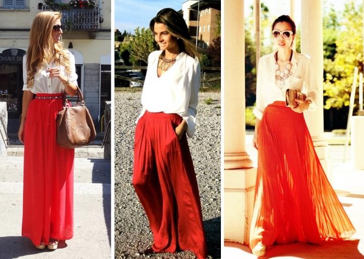 Saia longa deixa o look super elegante! Com uma saia colorida, combine um lenço neutro, como um dourado ou com estampa preto e branco.