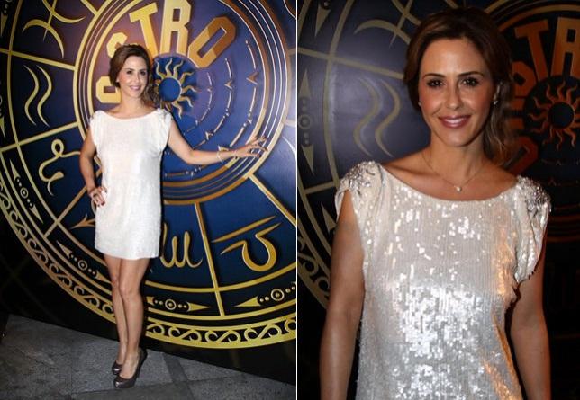 Vestido de paetês brancos também é uma boa opção! Combinado com um lenço colorido, fica bem elegante!