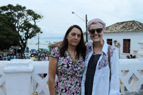 Joy e sua mãe Inês em Santo Antônio de Lisboa
