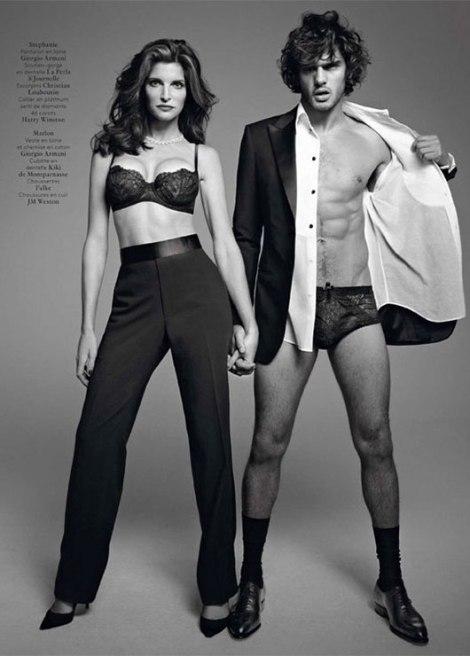 Posando para a Vogue  com a modelo Stephanie Seymour.